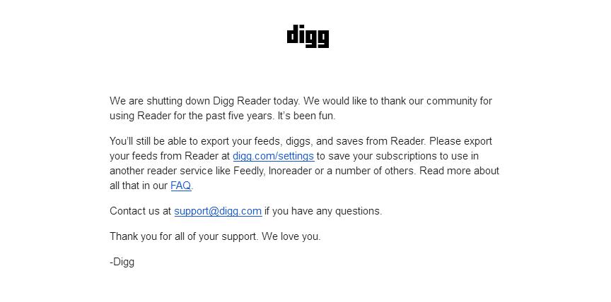 Digg Reader 宣布停止服務,RSS 閱讀器真的不敵 Facebook 嗎?
