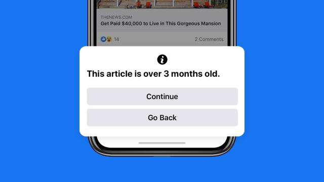 Facebook 新功能提示用戶勿將舊聞當新聞
