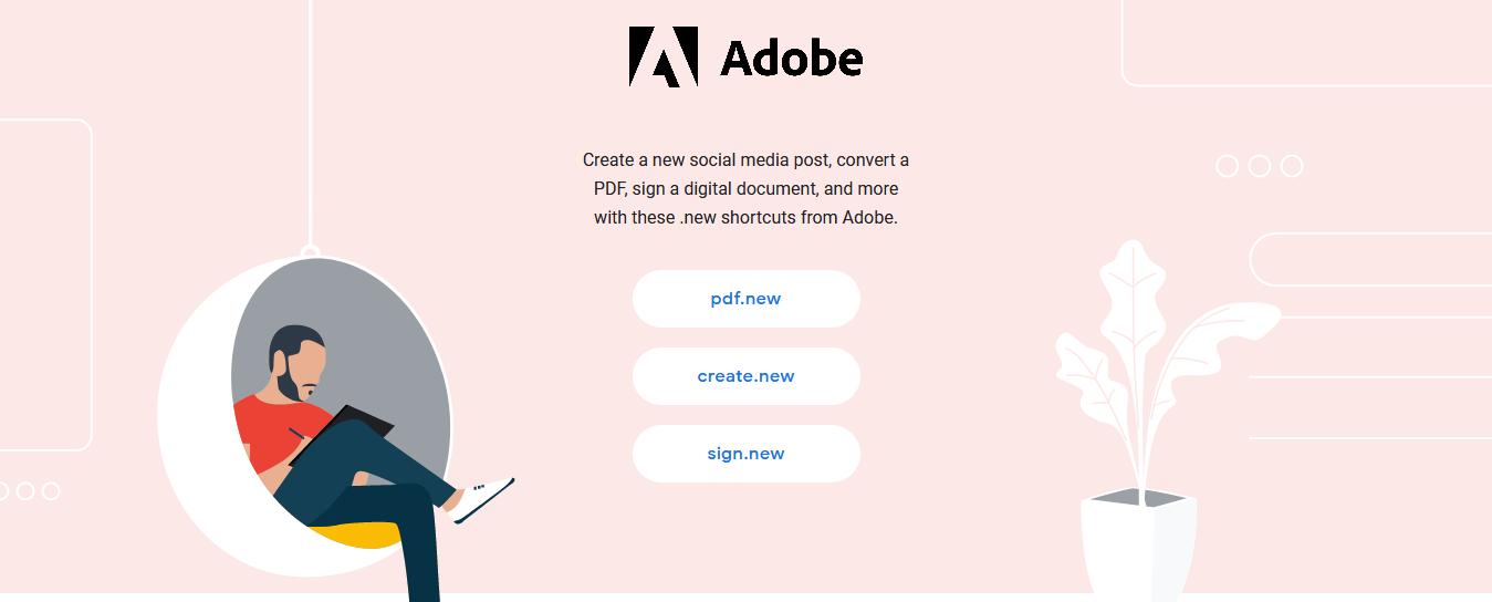 Adobe 推多條 .new 短網址助用戶快速使用 PDF 服務
